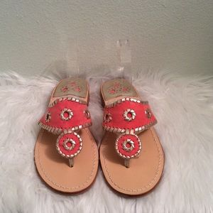 Jack Rogers salmon with gold whip stitch sandals.